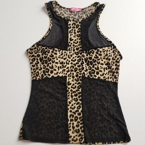 EUC Leapord Animal print mesh tank top tunic S